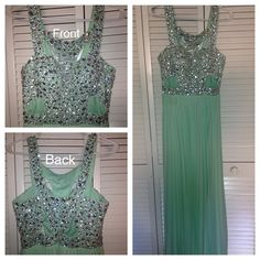 Prom Dress A beautiful long sea foam green prom dress with beaded in crystals. Betsy & Adam Dresses Prom