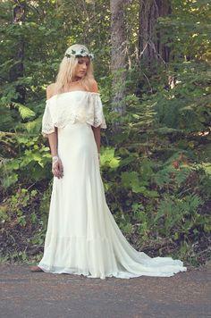 off the shoulder gown, 70s wedding dress, hippie wedding dresses, chiffon gown, vintage inspired wedding dress, strapless wedding gown, daughters of simone, hippie wedding