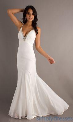 Bari Jay Long V-Neck Prom Dress with Sheer Back - Simply Dresses