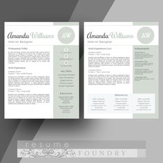 two page modern resume template word instant download visit resumefoundry on etsy cover letter