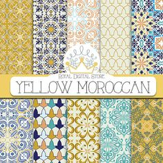 """Moroccan digital paper: """" YELLOW MOROCCAN"""" with yellow moroccan pattern, yellow damask, yellow mosaic for scrapbooking, cards, invitations"""