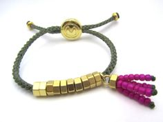 Adjustable Hex Nut Bracelet with beads tassel
