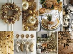 - by Cris Figueired♥ Beaded Christmas Ornaments, Gold Christmas, Christmas And New Year, Christmas Time, New Years Decorations, Thanksgiving Decorations, Christmas Decorations, Table Decorations, Holiday Decor