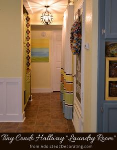 My Small Condo Laundry Room (a.k.a. Hallway Makeover) Before / After. This is AMAZING the difference this made! Wow!