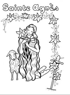 Saint Agnes and the Lamb Catholic coloring page  Coloriage: Sainte Agnés | Avec Marie, les enfants du monde prient pour la paix et les vocations. Feast day of St. Agnes is January 21st.