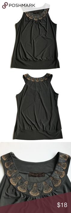 """💕The Limited Sleeveless Gray Top Like new! Cute top with copper and gray embroidered detail all around neck.  Approx 15"""" from armpit to armpit laid flat, 23"""" long. Machine wash, poly span blend. The Limited Tops Blouses"""