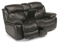 Como Leather Power Reclining Loveseat with Console by #Flexsteel via Flexsteel.com