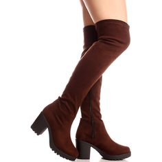 brown suede material side zipper chunky high heel casual over the knee... ($13) ❤ liked on Polyvore featuring shoes, boots, brown, high heel boots, over the knee suede boots, brown thigh high boots, thigh-high boots and over the knee boots