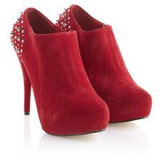 Red Studded High Heel Shoe Boot ($48) ❤ liked on Polyvore