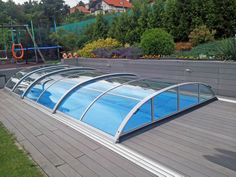 Pool cover AZURE flat compact with pure polycarbonate panels allows you to control situation in your pool or from your pool.