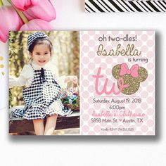 Minnie Mouse Oh Twodles Birthday Invitations Girls Party Invitations, Minnie Mouse Birthday Invitations, Minnie Birthday, Minnie Mouse Party, 2nd Birthday Parties, Girl Birthday, Happy Birthday, Diy For Girls, Pink