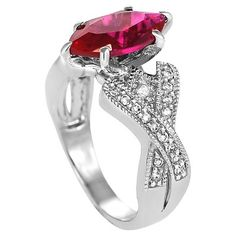 2 1/3 CT. T.W. Marquise-cut Garnet Cubic Zirconia Bridal Prong Set Ring in Sterling Silver - Red, 6, Women's