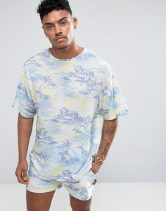 #BFCM #CyberMonday #ASOS - #Jaded London Jaded London T-Shirt In Hawaiian Print - Blue - AdoreWe.com