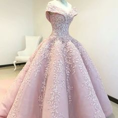 Off the Shoulder Ball Gown Pink Long Prom Dress with Appliques - lovely---Party Dresses Prom Dresses Long Pink, Pink Wedding Dresses, Bridal Dresses, Party Dresses, Gown Wedding, Formal Dresses, Masquerade Gown, Prom Party, Quinceanera Dresses