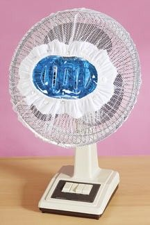 """Now you can beat the summer heat—and the high cost of air-conditioning! Place gel pack and elastic mesh cover in freezer; then attach to any circular fan to enjoy cool, refreshing air anytime. Keeps room comfortable for hours! Fits fans from 12"""" to 16"""" diam.        *        $7.98      * 2 for        $14.98"""