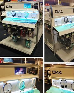 Best Buy DNA endcap by Monster, brings to retail a futuristic, and refreshing look. With the use of lighting and video this allows the shopper to experiment with the various headsets.