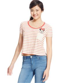 Mighty Fine Juniors' Minnie Mouse Graphic Striped Pocket Tee - Juniors Tops - Macy's