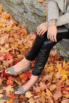black leather pants, grey and gold