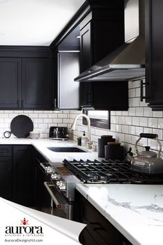 Black and white kitchen, why not? We can definitely help you achieve this. Our professional designer will take the time to listen to your needs and tailor a plan that works for your budget and into an affordable monthly payment through our Financing option up to $100,000! #AuroraKitchensandInterior #NewJersey Black Kitchen Cabinets, Black Kitchens, Kitchen Redo, Home Decor Kitchen, Home Kitchens, Kitchen Remodel, Modern Kitchen Design, Interior Design Kitchen, Updated Kitchen
