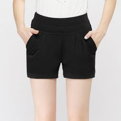 Leisure Pure Color Simple Style Pockets Women Summer Casual Shorts on buytrends.com