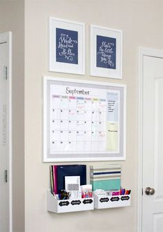 Kitchen Command Centre Idea - we will need something like this once the office upstairs is gone! Like the idea of the monthly budget being right there, but not on the calander for everyone to see.