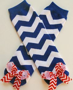 boutique royal blue chevron leg warmers with red chevron attached bows on Etsy, $8.99