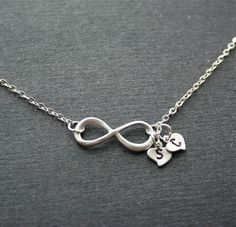 Friendship Infinity Heart Necklace, Silver Monogram Infinity necklace,  Personalized Jewelry, Sterling silver Chain availabl