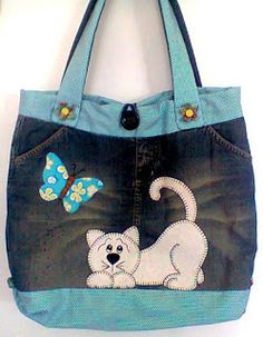 denim bag with butterfly and cat