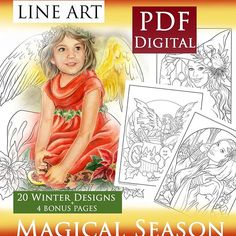New line art is available at my Etsy. 20 new winter images plus 4 bonus pages from different coloring books. No printed copies available. No grayscale. Adult Coloring, Coloring Books, Coloring Pages, Winter Images, Christmas Colors, Line Art, Fantasy Art, Seasons, Disney Characters