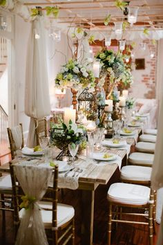 Beautiful rehearsal dinner seating in the second floor of race. Bee's Wedding and Event Floral Designs and Greer G. Photography.