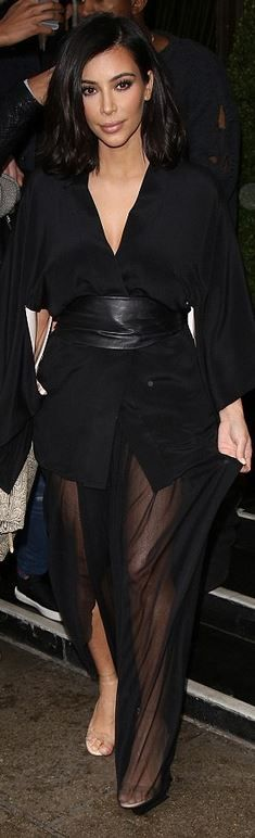 Kim Kardashian: Shoes – Manolo Blahnik  Dress – Fleur du Mal  Belt – Maison Margiela