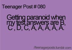 Teenager Post #080 The real thing is the fact that there are only 9 questions in the pic ahhhh!!!