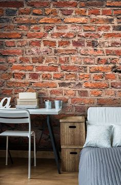 Made-to-measure brick wallpaper perfect for living rooms, kitchens and even bedrooms. Transform your room with this brick effect wallpaper mural available from Wallsauce.com. Prices shown are per square foot.