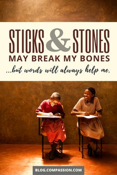 """""""Sticks and stones my break my bones, but words will always help me."""" What powerful words are you going to share in your next #compassionletter?"""