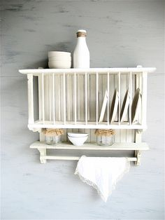 Vintage Plate Wall Rack. Recycled Wooden Shelf With Antique Brackets Cool Stuff & antique wooden plate rack | Cosmecol