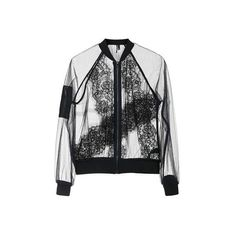 TopShop Sheer Lace Bomber Jacket (1.723.800 IDR) ❤ liked on Polyvore featuring outerwear, jackets, coats & jackets, tops, black, sheer camisole, sheer bomber jacket, sheer jacket, bomber style jacket and topshop jacket
