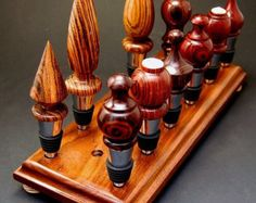 17 Hole Bottle Stopper Display Rack Stand, Handmade in Solid Walnut