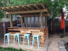 Here is an example of the handmade wood pallet furniture with this beautiful outdoor bar idea that is very useful and unique that you can craft the wood pallets and make these pallet outdoor bars out of them which can present a beautiful look of your bar and advertise your business at the same time.