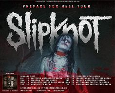 SLIPKNOT have announced a 'Prepare for Hell' 2015 UK/ Ireland tour with KORN, playing London, Manchester, Liverpool, Birmingham, Cardiff, Glasgow, Dublin and more in January. Tickets on sale Friday 17th Oct --> http://www.allgigs.co.uk/click/slipknot/