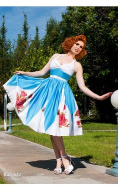 Pinup Couture - Lydia Dress in Rose Border Print | Pinup Girl Clothing