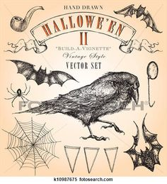 Vintage Halloween II Vector Set View Large Clip Art Graphic