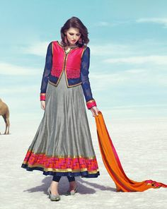 USD 142.43 Grey Silk Long Anarkali Suit with Blue koti  34220
