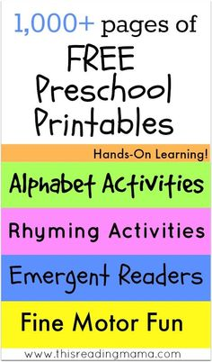 1000+ pages of FREE Preschool Printables ~ Hands-On Learning for the Alphabet, Rhyming, Emergent Readers, Fine Motor and MORE! | This Reading Mama