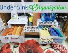 Under sink organization. {I may take a   leaf out of this book for our under-sink area.}