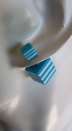Boucles d'oreilles Tendances Rayées Bleu/Blanc