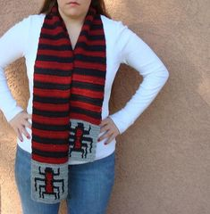 Spider Scarf for Men or Women - Red and Black Stripe Scarf, Striped Scarf - Ready To Ship by HoookedHandmade