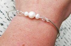 Freshwater Pearl Bangle Bracelet Silver Pearl Bangle Pearl
