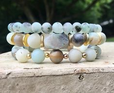 Add a touch of style and design to any outfit with this unique stack of beaded bracelet designed and handmade in the South featuring semi-precious beads and silver accents. Each stack is carefully put together with perfect color combinations to accent the stones best features.