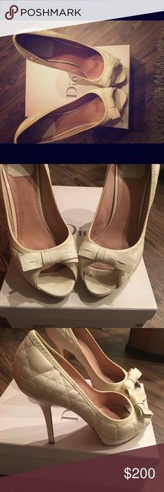 Dior peep toe heels Patton cream leather Christian Dior Shoes Heels