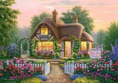Sophie Beauty Diy Diamond Painting Cross Stitch Needlework Embroidery Set The Flower Garden Manor Square Handcraft Mosaic Kit Mosaic Kits, Cottage Art, Cottage Living, Fairytale Cottage, Canvas Home, House Canvas, Beaded Cross Stitch, 5d Diamond Painting, Cross Paintings